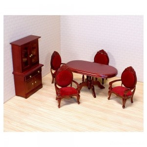 [BLACK FRIDAY] Melissa & Doug Classic Wooden Dollhouse Dining Room Furniture (6pc) - Table, Armchairs, Hutch