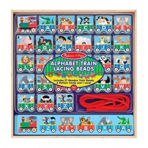 [BLACK FRIDAY] Melissa & Doug Alphabet Train Lacing Beads - 27 Wooden Train Beads, 6 Pattern Cards, and 1 Lace