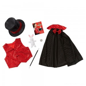 Melissa & Doug Magician Role Play Costume Set - Includes Hat, Cape, Wand, Magic Tricks, Adult Unisex