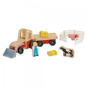 Melissa & Doug Farm Tractor Wooden Vehicle Play Set (5pc)