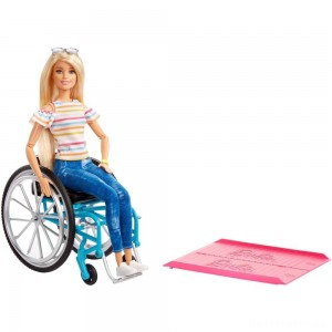 Barbie Fashionistas Doll #132 Blonde with Rolling Wheelchair and Ramp [Sale]