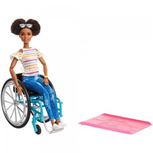 Barbie Fashionistas Doll #133 Brunette with Rolling Wheelchair and Ramp [Sale]