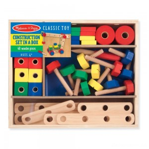 Melissa & Doug Wooden Construction Building Set in a Box (48pc)