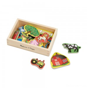 [BLACK FRIDAY] Melissa & Doug Wooden Farm Magnets with Wooden Tray - 20pc