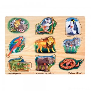Melissa & Doug Zoo Sound Puzzle - Wooden Peg Puzzle With Sound Effects 8pc
