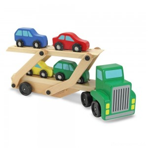 [BLACK FRIDAY] Melissa & Doug Car Carrier Truck and Cars Wooden Toy Set With 1 Truck and 4 Cars