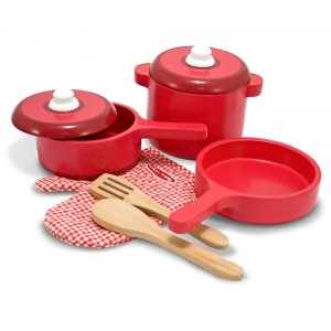 [BLACK FRIDAY] Melissa & Doug Deluxe Wooden Kitchen Accessory Set - Pots & Pans (8pc)