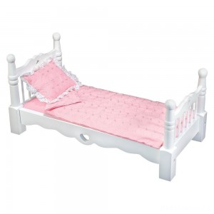 [BLACK FRIDAY] Melissa & Doug White Wooden Doll Bed With Bedding (24 x 12 x 11 inches)
