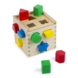 [BLACK FRIDAY] Melissa & Doug Shape Sorting Cube - Classic Wooden Toy With 12 Shapes