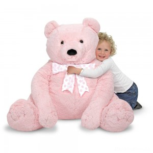 [BLACK FRIDAY] Melissa & Doug Jumbo Pink Teddy Bear Stuffed Animal (2 feet tall)