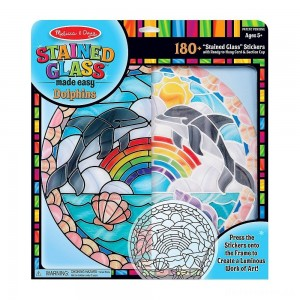 [BLACK FRIDAY] Melissa & Doug Stained Glass Made Easy Craft Kit: Dolphins - 180+ Stickers