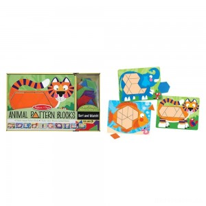 [BLACK FRIDAY] Melissa & Doug Animal Pattern Blocks Set With 5 Double-Sided Wooden Boards and 47 Multi-Shaped Blocks