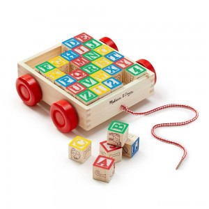 [BLACK FRIDAY] Melissa & Doug Classic ABC Wooden Block Cart Educational Toy With 30 Solid Wood Blocks