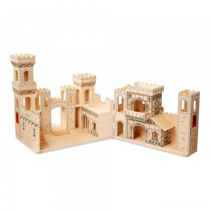 [BLACK FRIDAY] Melissa & Doug Deluxe Folding Medieval Wooden Castle - Hinged for Compact Storage