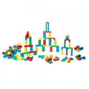 [BLACK FRIDAY] Melissa & Doug Wooden Building Block Set - 200 Blocks in 4 Colors and 9 Shapes