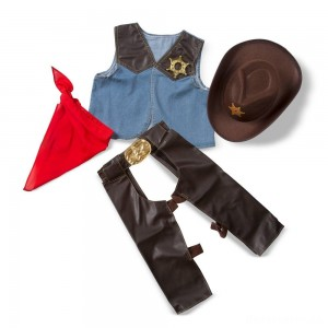 Melissa & Doug Cowboy Role Play Costume Set (5pc) - Includes Faux Leather Chaps, Adult Unisex, Blue/Gold/Red
