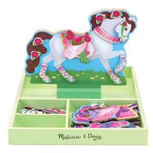 Melissa & Doug My Horse Clover Wooden Doll and Stand With Magnetic Dress-Up Accessories (60 pc