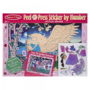 [BLACK FRIDAY] Melissa & Doug Peel and Press Sticker by Number Kit: Mystical Unicorn - 100+ Stickers, Jumbo Frame