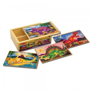 Melissa & Doug Dinosaurs 4-in-1 Wooden Jigsaw Puzzles in a Storage Box (48pc)