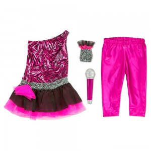 Melissa & Doug Rock Star Role Play Costume Set (4pc) - Includes Zebra-Print Dress, Microphone, Women's, Gold/Pink