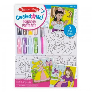 [BLACK FRIDAY] Melissa & Doug Canvas Painting Set: Princess - 3 Canvases, 8 Tubes of Paint