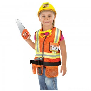 [BLACK FRIDAY] Melissa & Doug Construction Worker Role Play Costume Dress-Up Set (6pc), Adult Unisex, Size: Large, Gold/Orange/Yellow