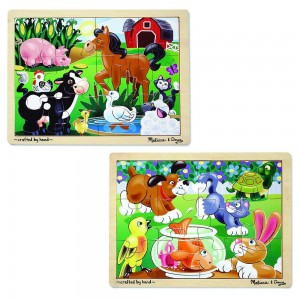 Melissa & Doug Animals Wooden Jigsaw Puzzles Set - Pets and Farm Life (24pc)