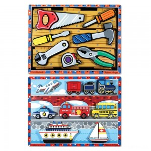 [BLACK FRIDAY] Melissa & Doug Doug Vehicles and Tools Wooden Chunky Puzzle Bundle 2pc