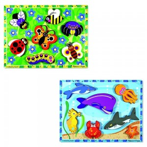 Melissa & Doug Wooden Chunky Puzzles Set - Ocean Animals and Insects 14pc
