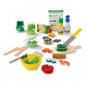 [BLACK FRIDAY] Melissa & Doug Slice and Toss Salad Play Food Set - 52pc Wooden and Felt