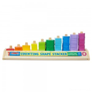 [BLACK FRIDAY] Melissa & Doug Counting Shape Stacker - Wooden Educational Toy With 55 Shapes and 10 Number Tiles