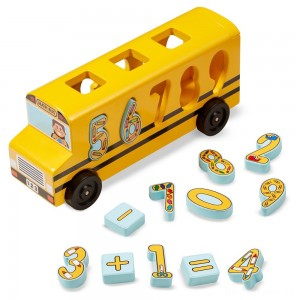 [BLACK FRIDAY] Melissa & Doug Number Matching Math Bus - Educational Toy With 10 Numbers, 3 Math Symbols, and 5 Double-Sided Cards