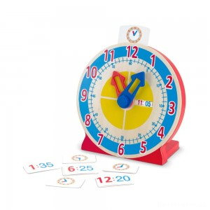 [BLACK FRIDAY] Melissa & Doug Turn & Tell Wooden Clock - Educational Toy With 12+ Reversible Time Cards