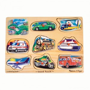 Melissa And Doug Vehicle Puzzle Wooden Peg Sound Puzzle 8pc