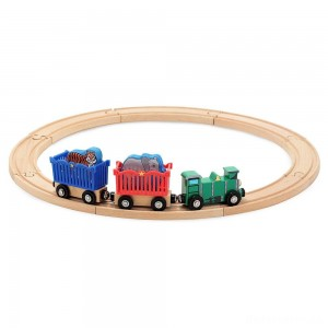 Melissa & Doug Zoo Animal Wooden Train Set (12+pc)