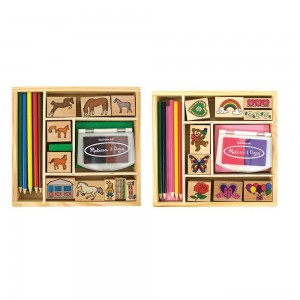 Melissa & Doug Wooden Stamp Sets (2): Friendship and Horses