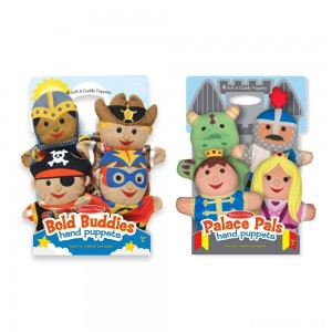 [BLACK FRIDAY] Melissa & Doug Adventure Hand Puppets (Set of 2, 4 puppets in each) - Bold Buddies and Palace Pals