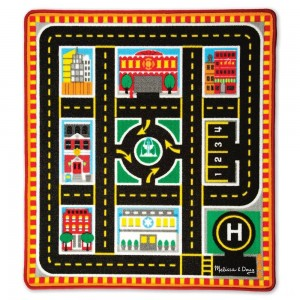 [BLACK FRIDAY] Melissa & Doug Round The City Rescue Rug With 4 Wooden Vehicles (39 x 36 inches)