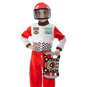 Melissa & Doug Race Car Driver Role Play Costume Set (3pc) - Jumpsuit, Helmet, Steering Wheel, Adult Unisex, Size: Small, Gold
