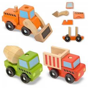Melissa & Doug Stacking Construction Vehicles Wooden Toy Set