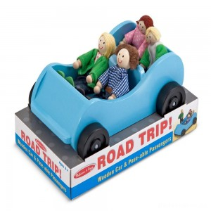 [BLACK FRIDAY] Melissa & Doug Road Trip Wooden Toy Car and 4 Poseable Dolls (4-5 inches each)