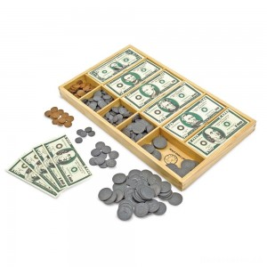 [BLACK FRIDAY] Melissa & Doug Play Money Set - Educational Toy With Paper Bills and Plastic Coins (50 of each denomination) and Wooden Cash Drawer for Storage