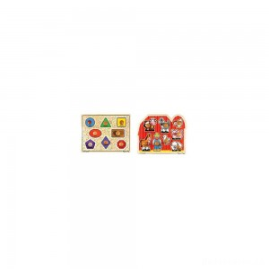 [BLACK FRIDAY] Melissa & Doug Jumbo Knob Wooden Puzzles - Shapes and Farm Animals 2pc