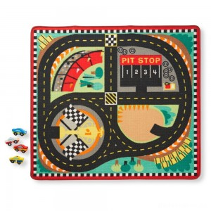 [BLACK FRIDAY] Melissa & Doug Round the Speedway Race Track Rug With 4 Race Cars (39 x 36 inches)
