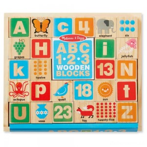[BLACK FRIDAY] Melissa & Doug ABC/123 Wooden Blocks (26pc)