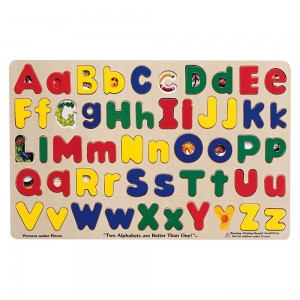 Melissa & Doug Upper & Lower Case Alphabet Letters Wooden Puzzle (52pc)