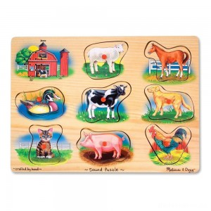 Melissa And Doug Farm Wooden Peg Sound Puzzle 8pc