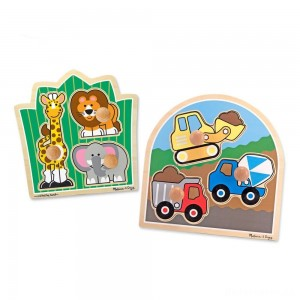 Melissa & Doug Jumbo Knob Wooden Puzzles Set - Construction and Safari 6pc