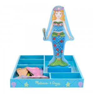 [BLACK FRIDAY] Melissa & Doug Merry Mermaid Wooden Dress-Up Doll and Stand - 35 Magnetic Accessories