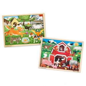 [BLACK FRIDAY] Melissa & Doug Animals Wooden Jigsaw Puzzle Sets - Pets and Farm 24pc each, 48pc